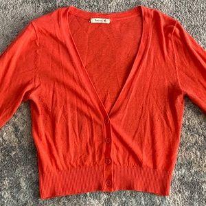 Orange stretchy soft crop cardigan 1/4 sleeve